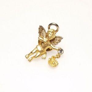 Jewelry - Vtg Gold Tone Baseball Cherub Guardian Angel Pin
